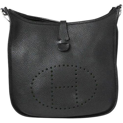 HERMÈS handbag, Evelyne Sellier 29  Handbag made of black calfskin, front side w…