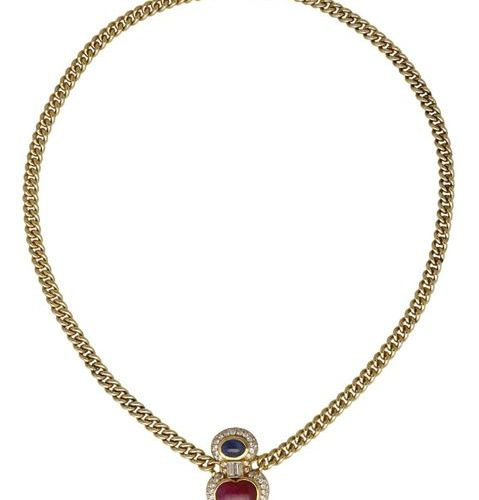 Ruby Sapphire Diamond necklace  Lovingly designed, signed Tännler, with heart mo…