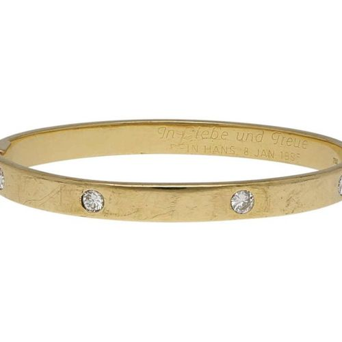 Diamond bangle  Lovely bangle in yellow gold 18K.  Inside with love saying and 4…