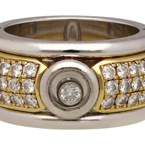 CHOPARD Diamond Ring  Model Happy Diamonds in white gold / yellow gold 18K.  Exq…