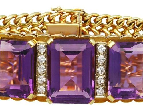 Amethyst diamond bracelet  Glamorous piece of jewelry in yellow gold 18K.  As ey…