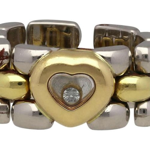 CHOPARD Chain Ring  Model Happy Diamonds in steel/yellow gold 18K.  With floatin…
