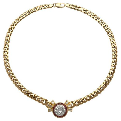 Brilliant Ruby Necklace  Imposing piece of jewellery in yellow gold 14K.  Absolu…