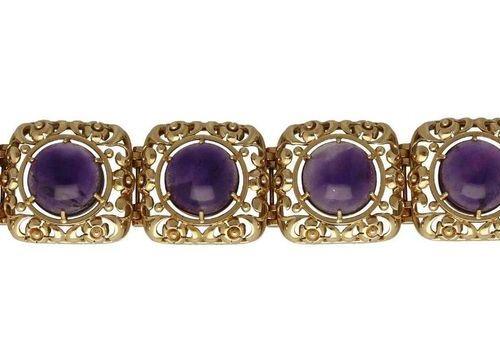 Amethyst gold bracelet  Extravagant design in yellow gold 14K.  Link bracelet se…