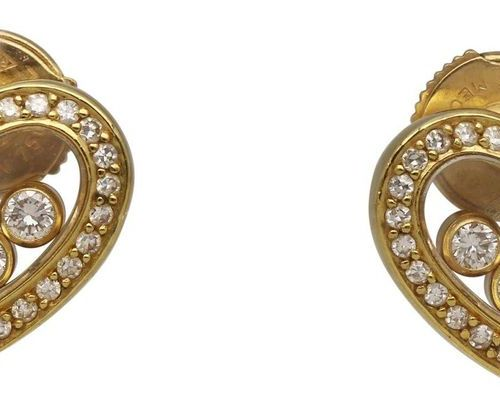 CHOPARD Earrings Happy Diamonds  Beautiful designer work in yellow gold 18K.  De…