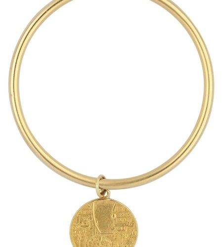 Bangle with Basler medal  On polished bangle yellow gold 18K a medal yellow gold…