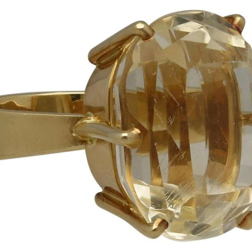Citrine Ring  Opulent design in yellow gold 14K.  Eyecatcher is an oval citrine …