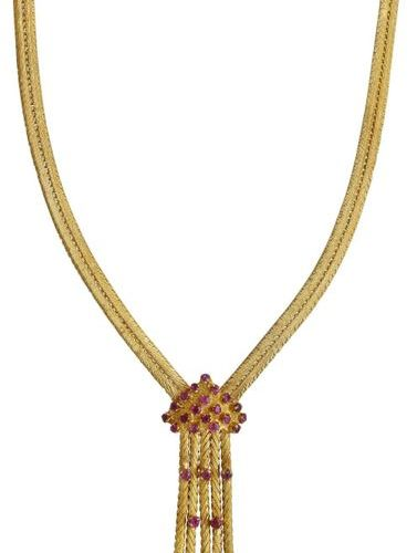 Ruby necklace  Decorative necklace in yellow gold 18K.  Necklace inspired by Art…