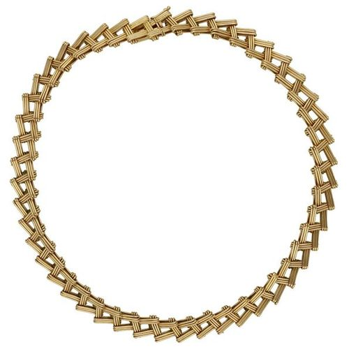 Gold necklace  Extravagant piece of jewelry, signed Meister, Zurich, in yellow g…