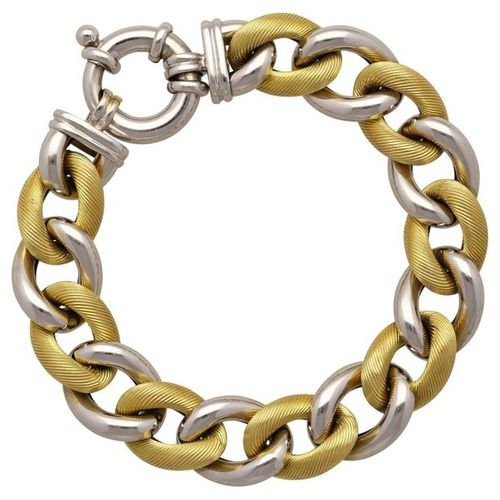 Gold bracelet  Modern design in white gold/yellow gold 18K.  Alternating polishe…