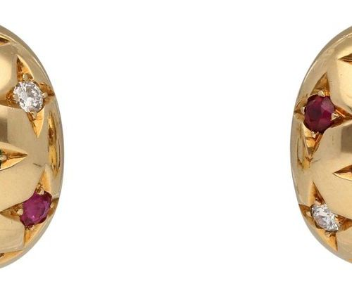 Ruby Sapphire Emerald Diamond Earrings  Colourful model in yellow gold 18K.  Rub…