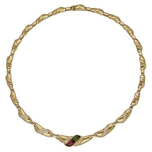 Tourmaline diamond necklace  Beautiful handmade in yellow gold 18K.  An intense,…