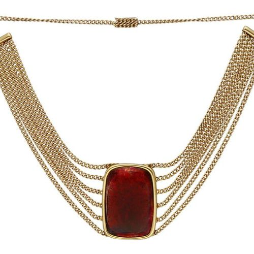 Glass Flow Collier  Unique piece of jewelry in yellow gold 18K.  Multi row curb …