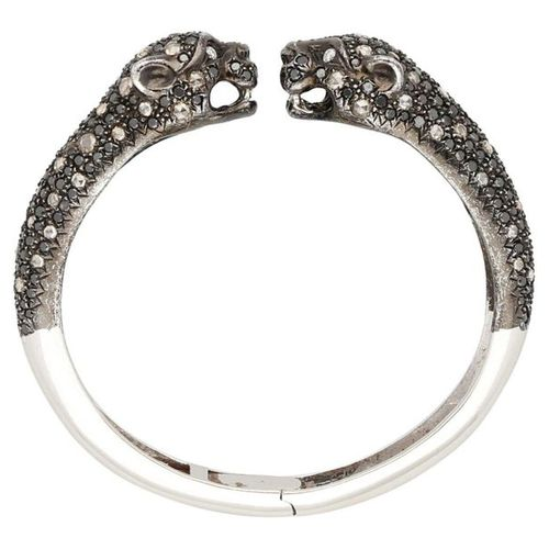 Diamond bangle  Panther bangle to open in white gold 18K.  Black brilliants and …