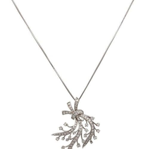 Diamond Necklace  Charming necklace in white gold 14K.  Floral design decorated …