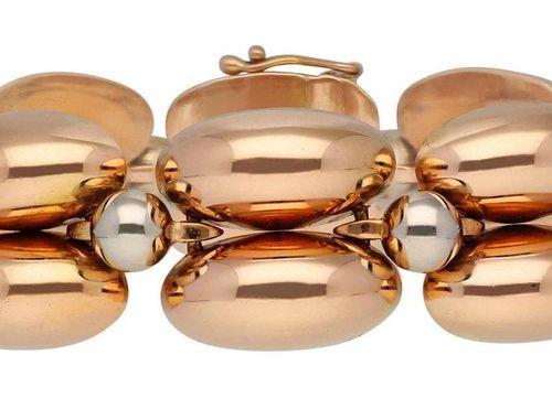 Gold bracelet  Modern design in rose gold/white gold 18K.  Gold bracelet with cu…