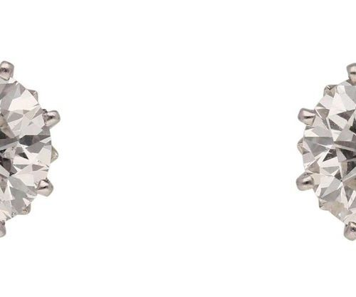 Brilliant ear studs  Classic model in white gold 18K.  Solitaire earrings with o…