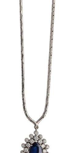 Sapphire diamond jewelry set  Fantastic jewellery set consisting of a necklace, …