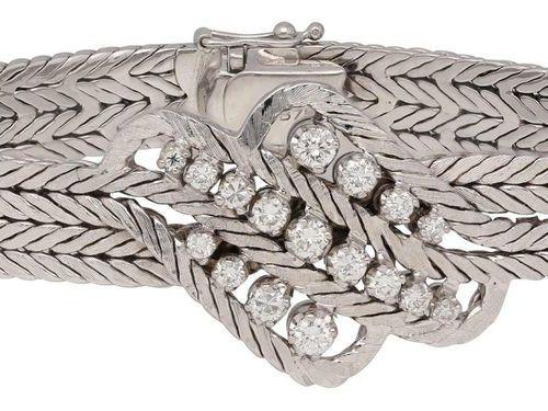 Diamond bracelet  Decorative model by C. Bucherer in 18K white gold.  Satin brac…
