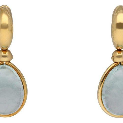 POMELLATO earrings  Designer jewellery in yellow gold 18K.  Aquamarine cabochon …