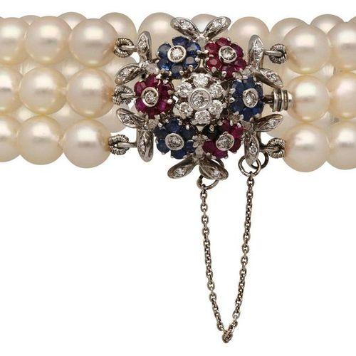 Sapphire Ruby Diamond Bead Set  Rare arrangement of many calibrated, untreated  …
