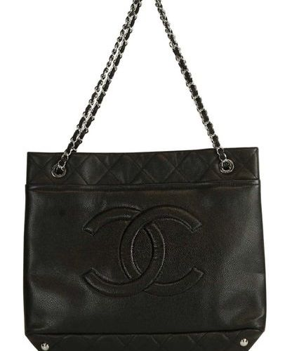 CHANEL Shopper  XL Shopper in black caviar leather with large, quilted logo on t…