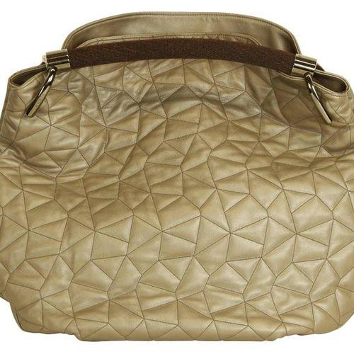 AKRIS shoulder bag  Beautiful Hobobag in leather beige/gold shimmering with  geo…