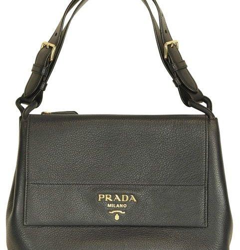 PRADA Handbag  Classic handbag with 2 main compartments in dark blue leather.  W…