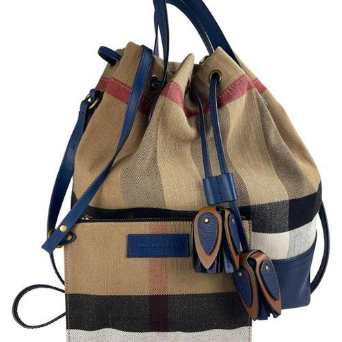 BURBERRY Handbag  Heston Canvas Bucket Bag, canvas with leather, check beige wit…