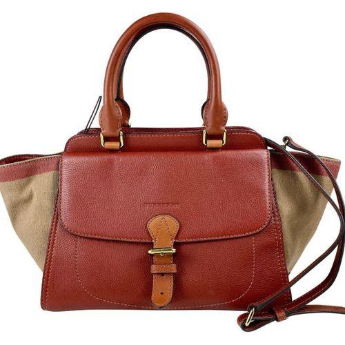BURBERRY Handbag  Leather cognac, textile inserts in beige red black.  Width 31 …