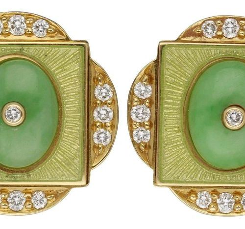 Jade diamond earclips  New designer jewellery in yellow gold 18K.  Beautiful jad…