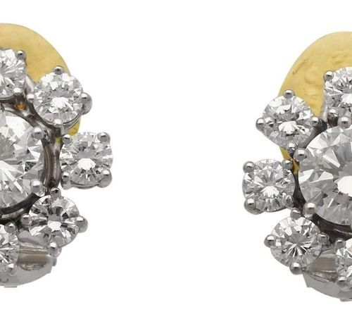 Brilliant earclips  Wonderful diamond earclips, signed C. Bucherer, in white gol…