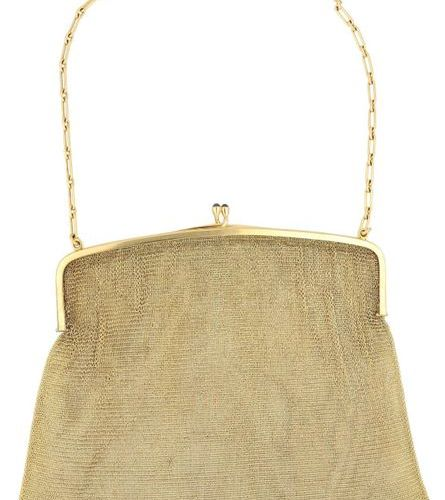 Gold evening bag  Elegant knitted jewellery bag in yellow gold 18K.  Bow polishe…