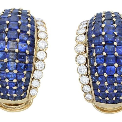 Sapphire Diamond Ear Clips  Decorative pair in yellow gold 18K.  Beautifully dec…