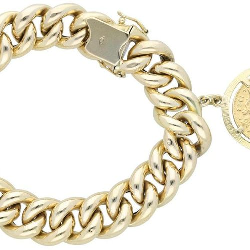 Gold bracelet  Armor chain bracelet with historical coin (Goldvreneli 20 Fr.) fr…