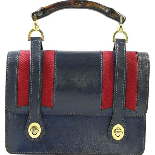 GUCCI handle bag  Vintage collector's item in dark brown leather with red blue  …