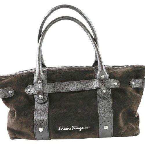 SALVATORE FERRAGAMO Handbag  Handbag made of dark brown suede.  Width 35 cm, hei…