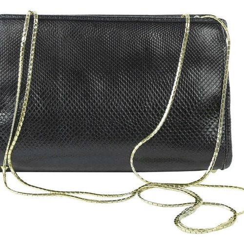 JUDITH LEIBER evening bag  Small evening bag made of black leather, embossed, wi…