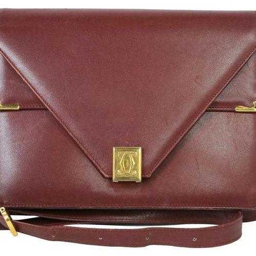 CARTIER shoulder bag  Vintage connoisseur model in bordeaux leather with gold co…