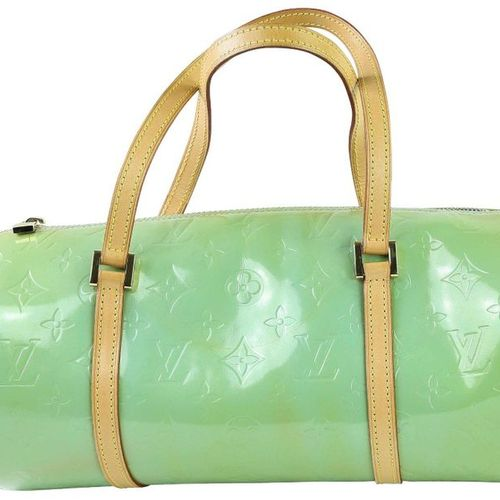 LOUIS VUITTON Papillon  Handbag in patent green leather with monogram pattern.  …
