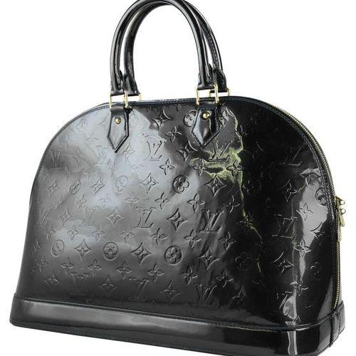 LOUIS VUITTON Alma  Handbag in dark green patent leather with monogram pattern. …