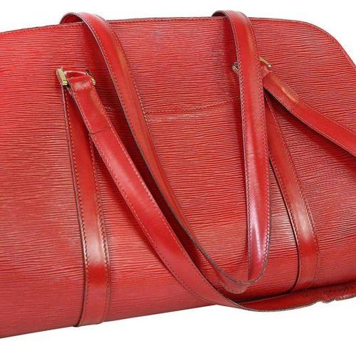 LOUIS VUITTON Soufflot  Handbag made of red epi leather.  Width 44 cm, height 28…