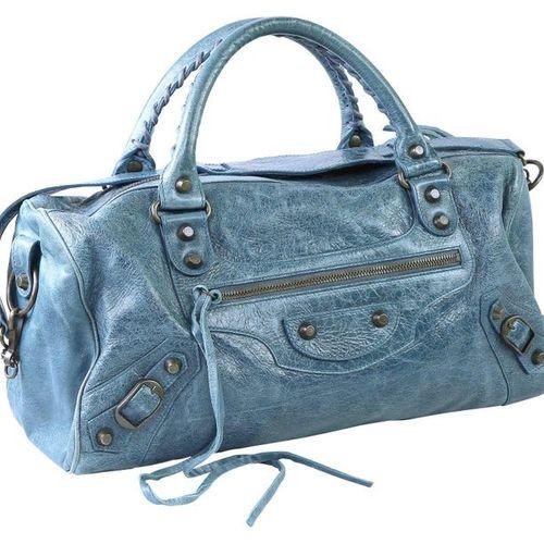 BALENCIAGA Mini Twiggy City Bag  Blue lamb nappa leather handbag. Width 37 cm, h…