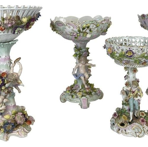 Small collection / composition with centrepieces, baskets, plates, cups, meissen…