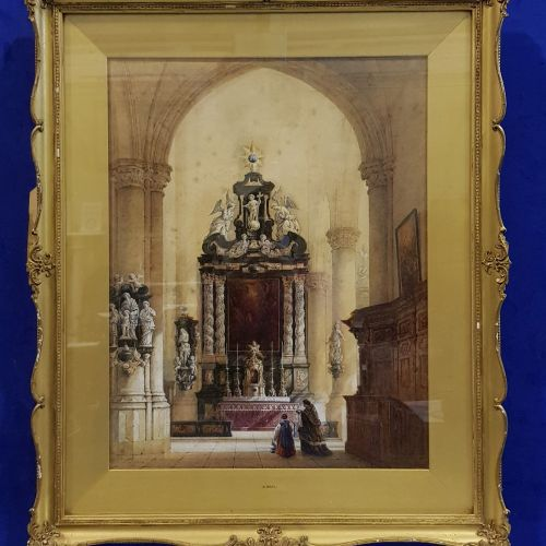 "SAMUEL READ RWS (1815 1883), ""A CATHEDRAL SCENE"", watercolour, signed and dated …"