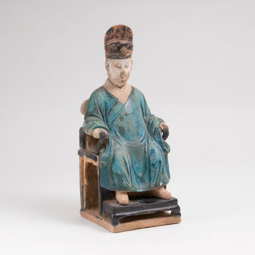 A Seated Chinese Dignitary. China, possibly Song Dynasty (960 1279). Terracotta …