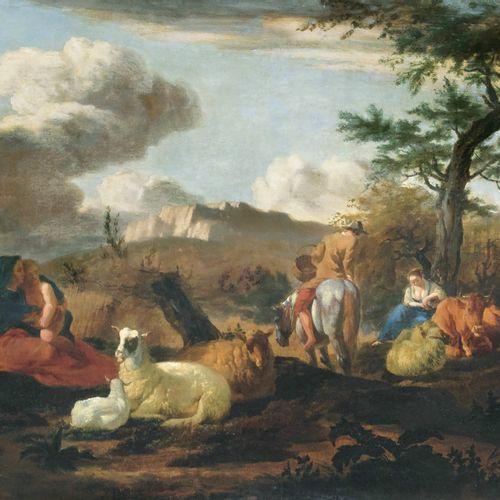 Karel Dujardin (Amsterdam 1626 Venedig 1678). Landscape with Herdsmen. Oil/canva…