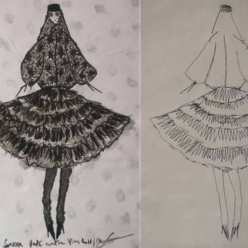 Frank Sorbier Haute Couture Hiver 2016/17. Un croquis original recto verso sur f…