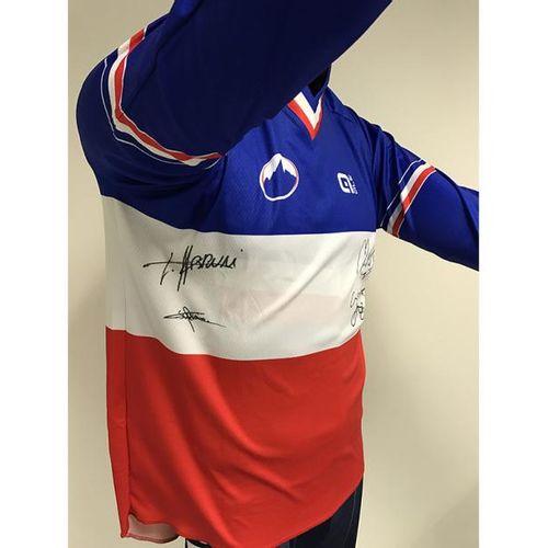 FÉDÉRATION FRANÇAISE DE CYCLISME Maillot dédicacé Champion de France de VTT Desc…