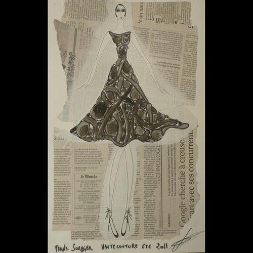 Franck SORBIER Haute Couture Été 2011. Deux croquis originaux. Dessins sur colla…